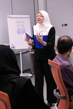 Maha Elnashar leading a session on the two-day course.