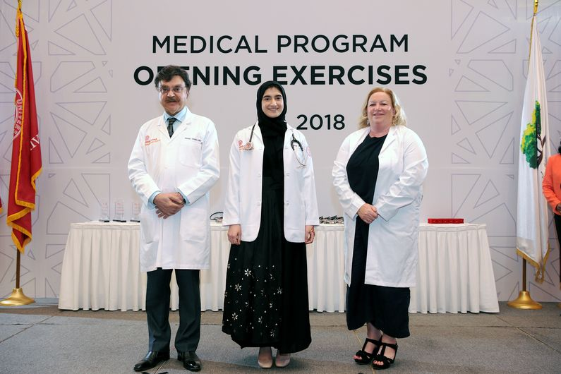 Dana Al-Ali with Dr. Javaid Sheikh and Dr. Margaret E. Allen from Hamad Medical Corporation.