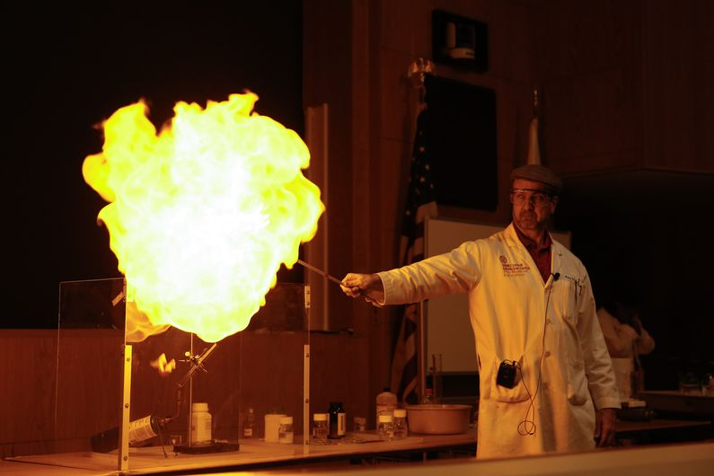 Dr. James Roach, visiting professor of chemistry, gave some spectacular demonstrations at the event.