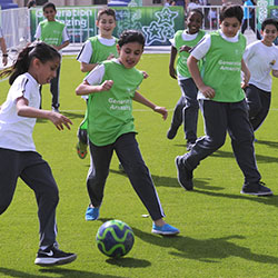 The football pitch gave the students a chance to burn off some energy.