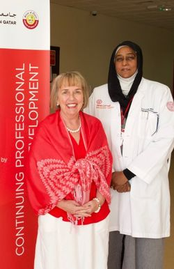 WCM-Q associate professor of pediatrics Dr. Amal Khidir, right, with Dr. Deborah White, dean, University of Calgary in Qatar.