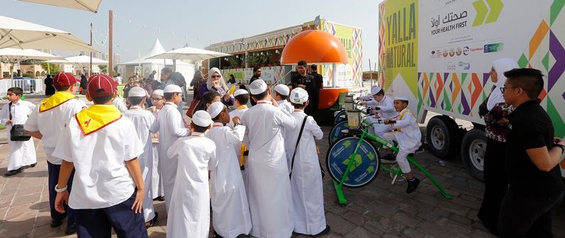 Young people from across Qatar visited the Yalla Natural roadshow and learned more about good health.