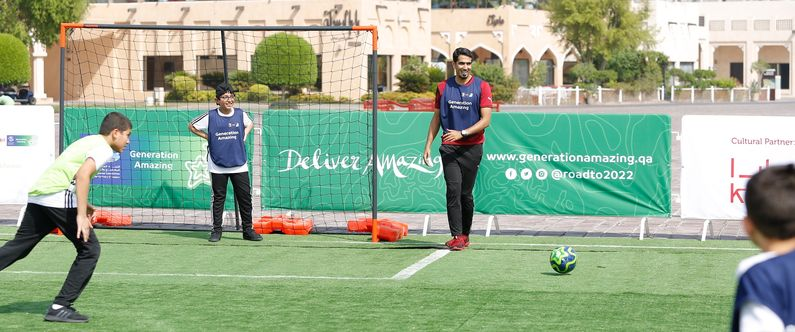 Renowned Qatari sports commentator and former professional tennis player Mohammed Saadon Al Kuwari took to the field with some of the students.