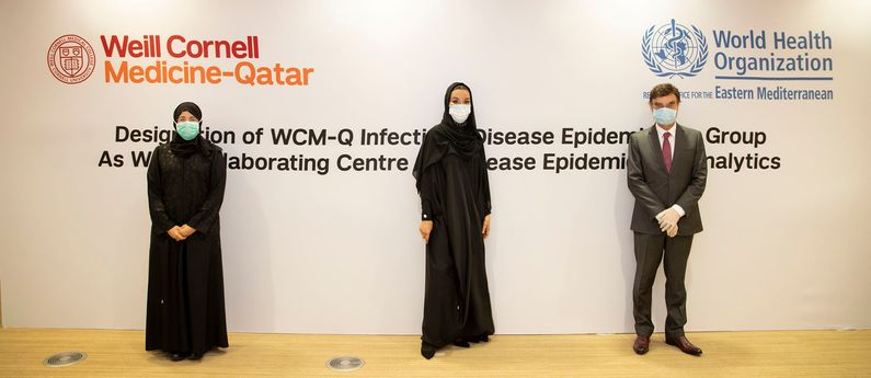 HH Sheikha Moza bint Nasser, Chairperson of Qatar Foundation (center) with HE Dr. Hanan Mohamed Al Kuwari, Minister of Public Health (left) and Dr. Javaid Sheikh, Dean of WCM-Q.