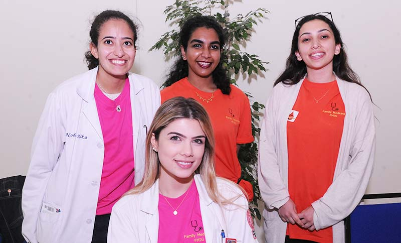 Nourhan Kika, Gowrii Ganesan, Hania Ibrahim (back row), and Rula Al-Baghdadi (front), of the Family Medicine Interest Group.