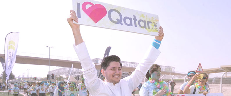 I Love Qatar's Khlalifa Haroon wore a spotless, white thobe for the event.