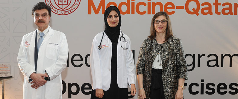 Sara Alyafei with Dr. Javaid Sheikh and Dr. Thurayya Arayssi, senior associate dean for medical education and continuing professional development.