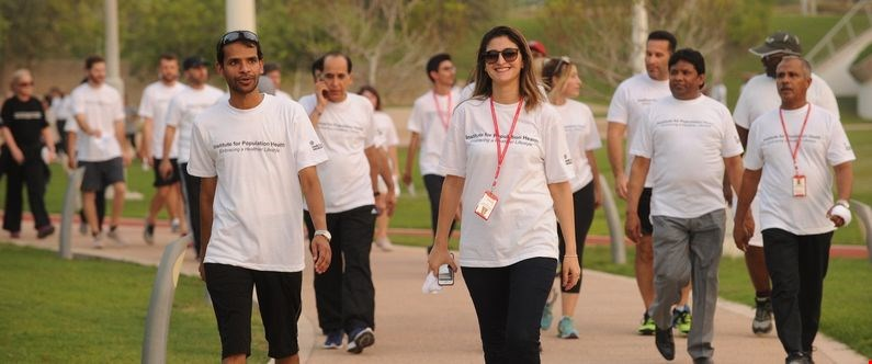 Members of the Education City community take part in a Walk for Life in Qatar Foundation's Oxygen Park during WCM-Q's Lifestyle Medicine Week.