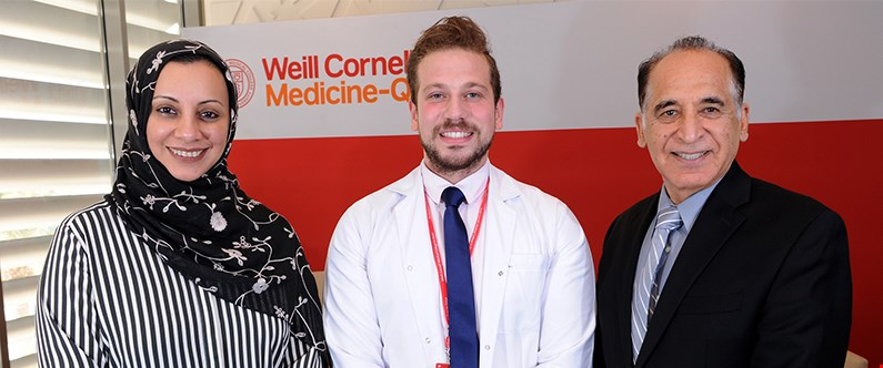 WCM-Q's Dr. Sohaila Cheema, left, visiting student Mohamed Wafa Khoudeir, and WCM-Q's Dr. Ravinder Mamtani.
