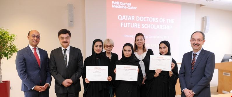 From left: Dr. Rachid Bendriss, Dr. Javaid Sheikh, Dyana Hamad Al Blooshi, Dr. Krystyna Golkowska, Dalal Khalid Al-Fadli, Noha Saleh, Haya Khalid Rahimi and Dr. Marco Ameduri at the completion ceremony of the Doctors of the Future scholarship program.