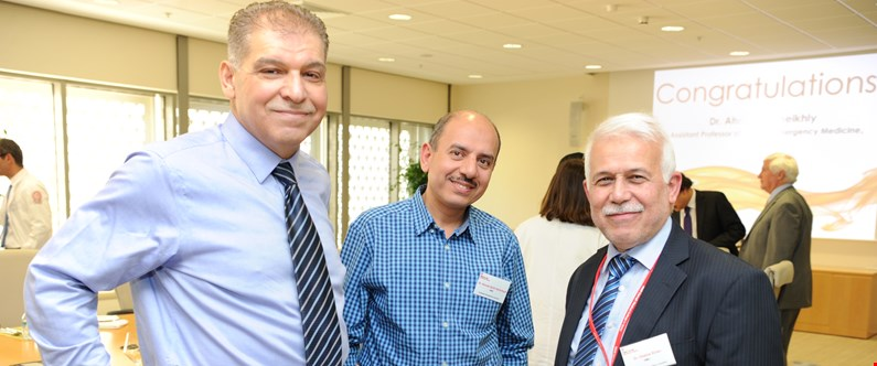 WCM-Q affiliate faculty members Dr. Ahmad Sami Al-Obaidi of Al Wakrah Hospital, Dr. Ahmad Salih Abdulhadi of HMC Heart Hospital, and Dr. Osama Sinan of Al Khor Hospital at the Promotion Recognition Luncheon.