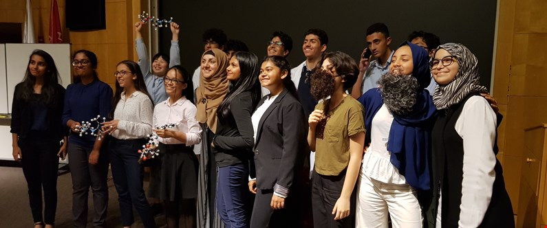 Students from high schools across Qatar attended the symposium to participate in a presentation competition.