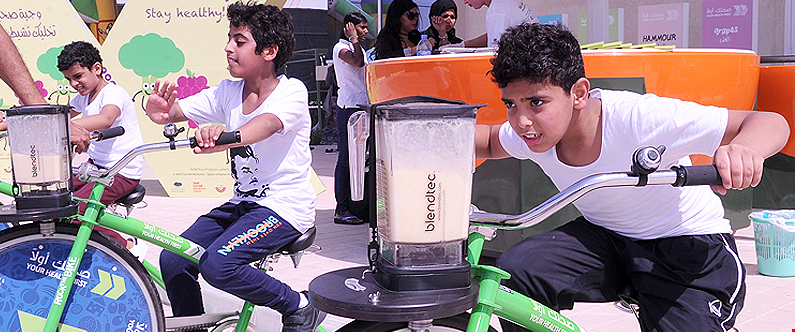 Sahtak Awalan - Your Health First brought its blender bikes to the LFC Foundation and WISH event at Awsaj Academy, giving students the chance to make healthy and nutritious fruit smoothies using pedal power.