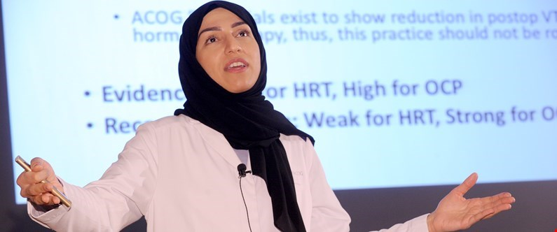 WCM-Q alumna Dr. Aisha Ahmad AA Yousuf, now medical director of reproductive surgery at Sidra Medicine, returned to her alma mater to give a Grand Rounds lecture entitled 'Enhanced Recovery in Surgery (ERAS) in Gynecology'.
